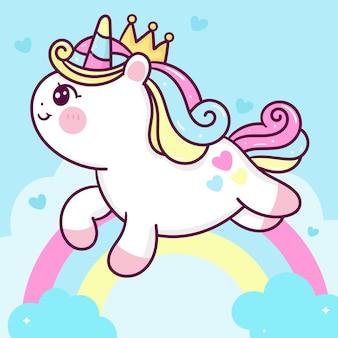 Desenho fofo da princesa unicórnio em uma nuvem doce com um animal kawaii arco-íris