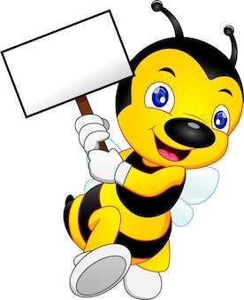 Desenho fofo de abelha com um cartaz ou placa em branco