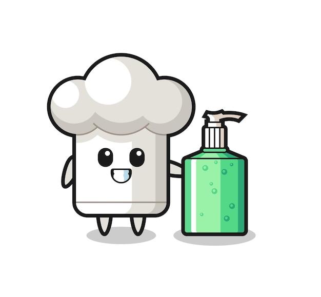 Desenho fofo de chapéu de chef com desinfetante para as mãos, design de estilo fofo para camiseta, adesivo, elemento de logotipo