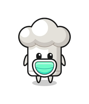 Desenho fofo de chapéu de chef usando uma máscara, design de estilo fofo para camiseta, adesivo, elemento de logotipo