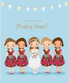 Desenho fofo de empregada doméstica de noiva para cartão de proposta