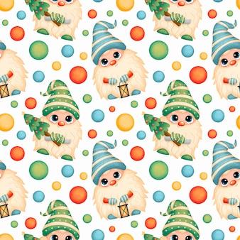 Desenho fofo de gnomos de natal padrão sem emenda