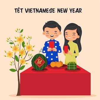 Desenho fofo de menino e menina vietnamita com melancia e amarelo