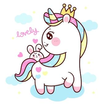 Desenho fofo de princesa unicórnio com coelho kawaii animal