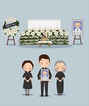 Desenho fofo de um membro de uma família asiática em uma cerimônia fúnebre