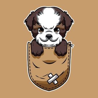 Desenho fofo de um shih tzu no bolso