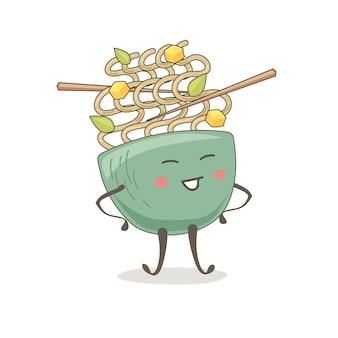 Desenho fofo de uma tigela de macarrão em um fundo branco