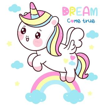Desenho fofo de unicórnio pégaso sobrevoando animal kawaii com arco-íris pastel