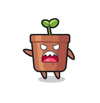 Desenho fofo de vaso de planta em uma pose de muita raiva, design de estilo fofo para camiseta, adesivo, elemento de logotipo