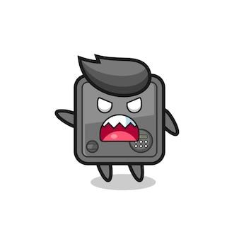 Desenho fofo do cofre em uma pose de muita raiva, design de estilo fofo para camiseta, adesivo, elemento de logotipo