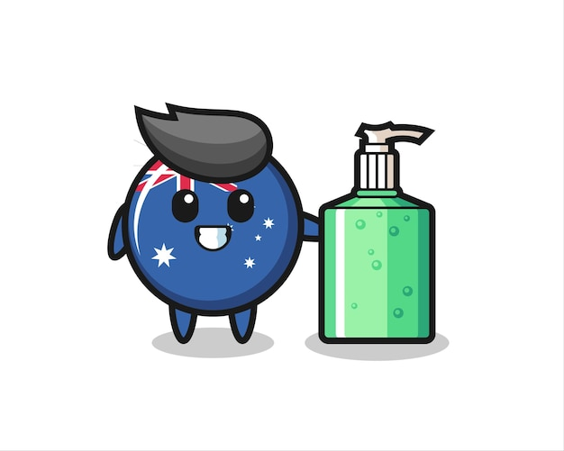 Desenho fofo do distintivo da bandeira da austrália com desinfetante para as mãos, design de estilo fofo para camiseta, adesivo, elemento de logotipo