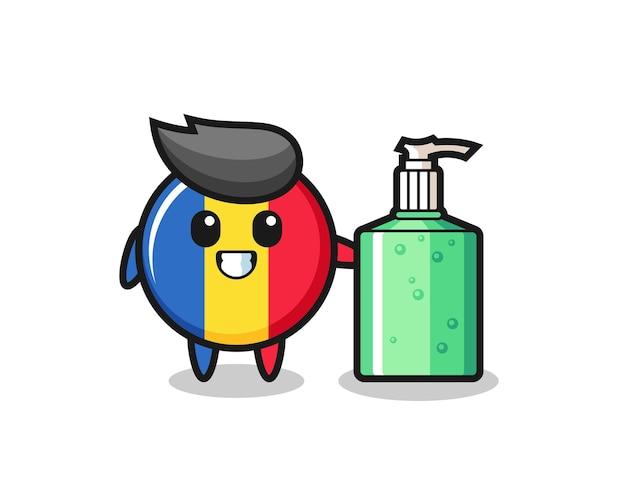 Desenho fofo do distintivo da bandeira da romênia com desinfetante para as mãos, design de estilo fofo para camiseta, adesivo, elemento de logotipo