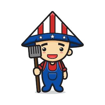 Desenho fofo do fazendeiro com o chapéu estampado dos estados unidos da américa e segurando uma ilustração do ancinho