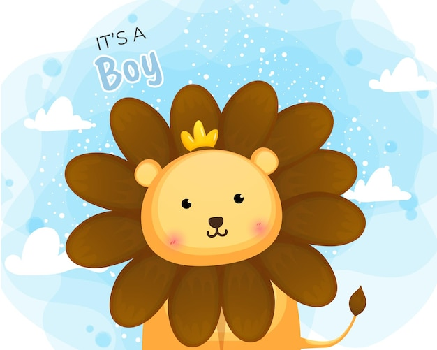 Desenho fofo do príncipe leão