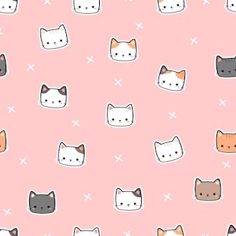Desenho fofo doodle padrão sem emenda com cabeça de gato minúsculo