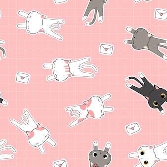 Desenho fofo doodle padrão sem emenda com gato preguiçoso