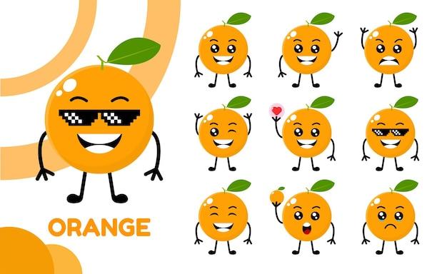 Desenho fofo laranja com desenho vetorial de 9 caracteres