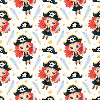 Desenho fofo pirateia meninas padrão sem emenda