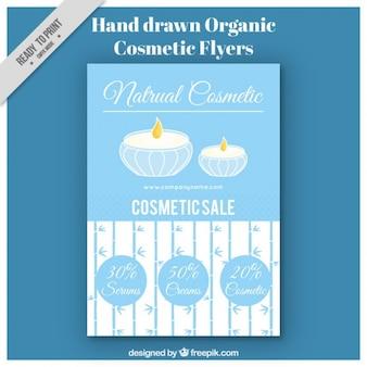 Desenho folheto de cosméticos orgânicos