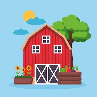 Desenho fresco de fazenda