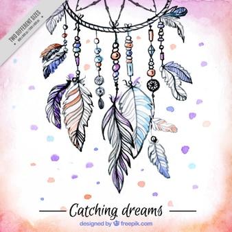 Desenho fundo decorativo com um apanhador de sonhos étnica