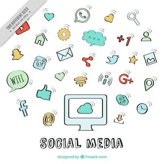 Desenho fundo ícones de redes sociais