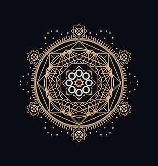 Desenho geométrico abstrato de símbolos sagrados