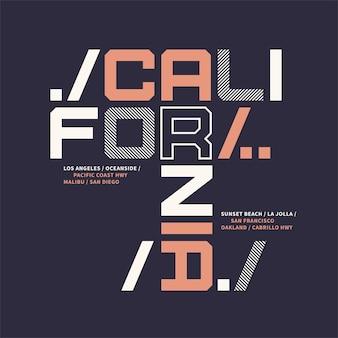 Desenho geométrico de camiseta gráfica sobre o tema da ilustração vetorial da califórnia