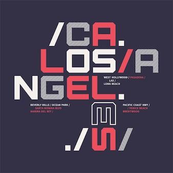 Desenho geométrico de t-shirt gráfico sobre o tema de los angeles califórnia. ilustração vetorial.
