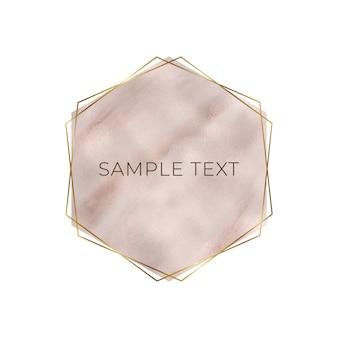 Desenho geométrico em mármore com textura de folha triangular em ouro rosa e rosa, moldura dourada