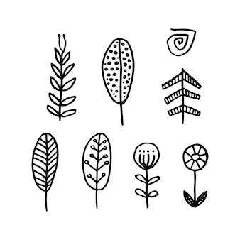 Desenho geométrico nórdico árvore e flores simples de vetor em estilo escandinavo moderno
