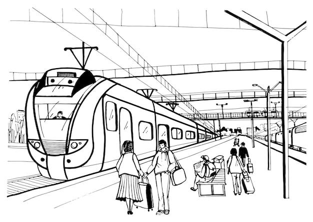 Desenho horizontal monocromático com pessoas, passageiros esperando o trem elétrico suburbano de chegada. mão-extraídas ilustração vetorial.