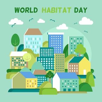 Desenho ilustrado do dia mundial do habitat