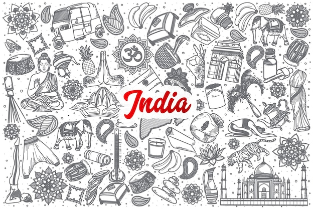 Desenho indiano desenhado à mão definir fundo com letras vermelhas