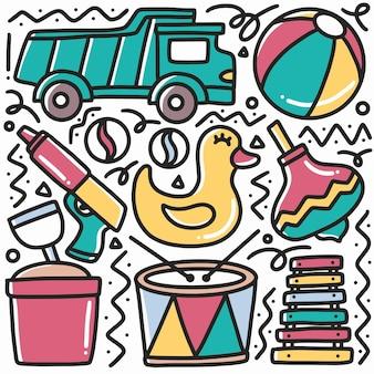 Desenho infantil doodle de brinquedo de praia com ícones e elementos de design