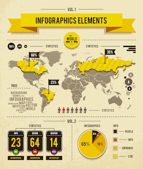 Desenho infográfico do mapa mundial