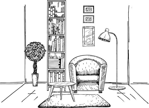 Desenho interior moderno à mão da sala interior