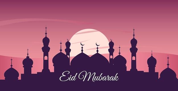 Desenho islâmico de eid mubarak com lua crescente