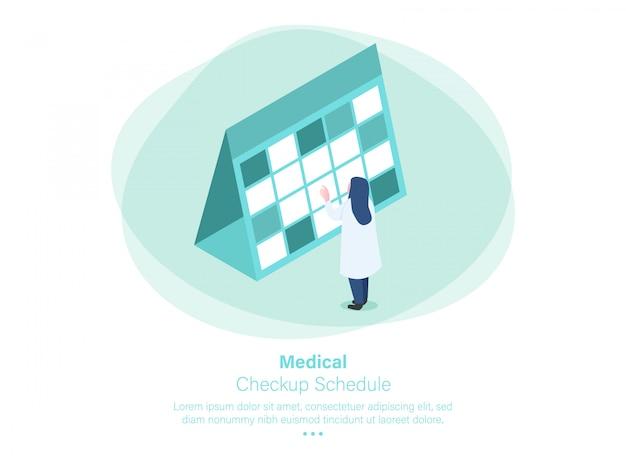 Desenho isométrico de cronograma de check-up médico