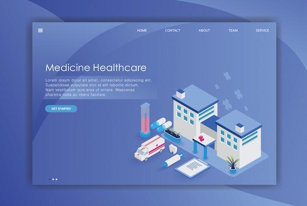 Desenho isométrico de hospital de tempalte página de destino