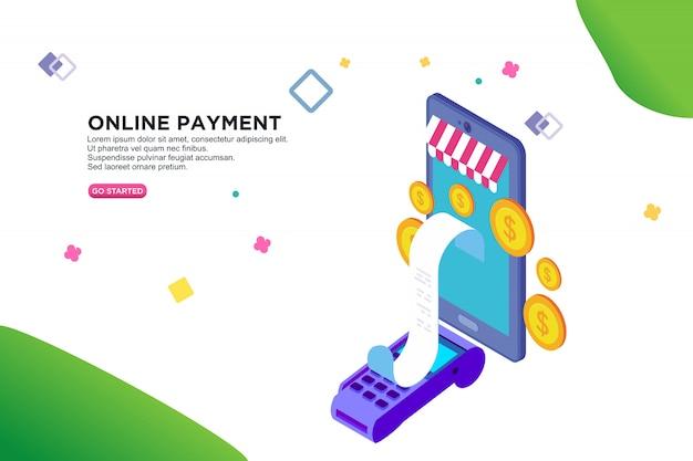 Desenho isométrico de pagamento on-line