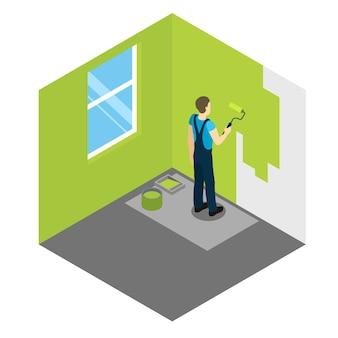 Desenho isométrico de pintor de casas