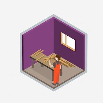 Desenho isométrico de um novo conceito de interior para casa