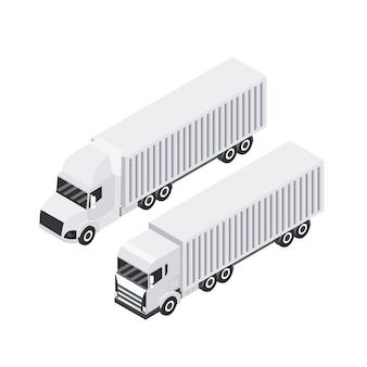 Desenho isométrico do caminhão de carga. reboque de transporte pesado