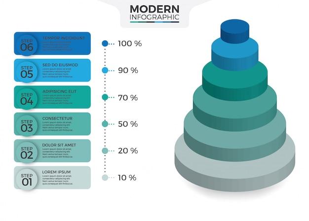 Desenho isométrico infográfico com 6 opções de folhas ou passos