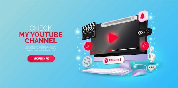 Desenho isométrico sobre o canal do youtube. ilustração vetorial