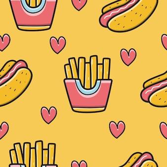 Desenho kawaii desenhado à mão ilustração de design de padrão de comida