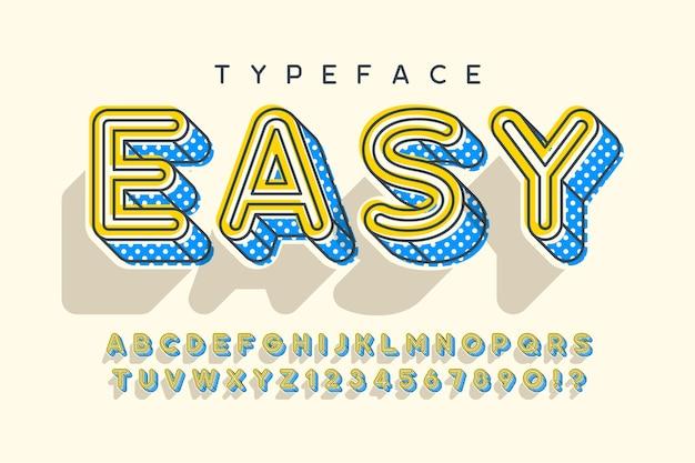 Desenho, letras e números do alfabeto popart moderno linear.