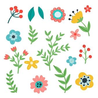 Desenho lindo pacote de flores de primavera