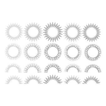 Desenho linear de raios do sol definido no estilo vintage